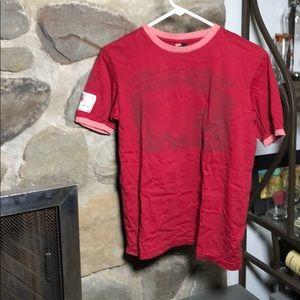 Diesel vintage Tee, red with pink collar & sleeves